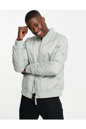 Topman MA1 padded bomber jacket in sage-Green