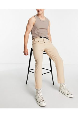 Sixth June Skinny trousers in with belt detail-Neutral