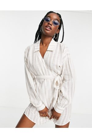 ASOS Tie ruched beach shirt dress in natural stripe-Multi