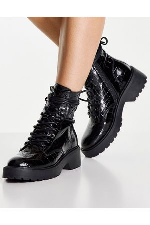 Steve Madden Tornado lace up chunky ankle boots in black croc