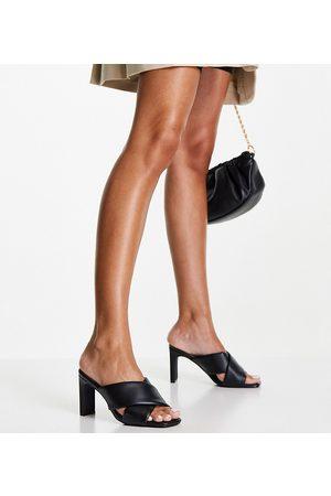 New Look Padded crossover heeled mule in black