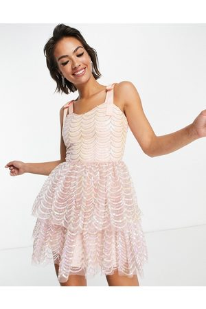 Virgos VL the Label layered mini dress in pink sequin-Silver