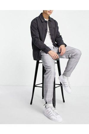 Topman Belted relaxed check trousers in grey