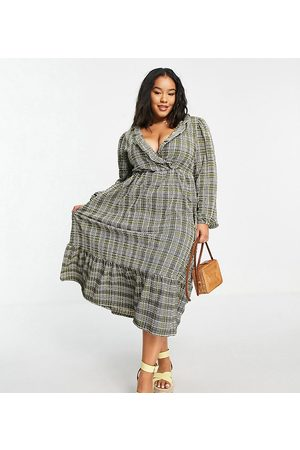 ASOS ASOS DESIGN Curve midi smock dress with frill neck and tiered hem in grey and green check print