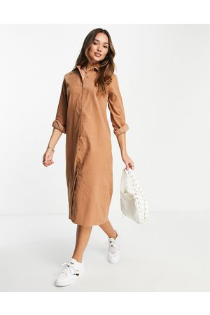 Urban Threads Oversized cord midi shirt dress in taupe-Brown
