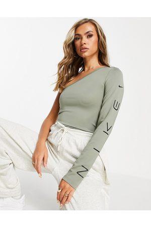 Nike Asymmetric long sleeve top in dark grey