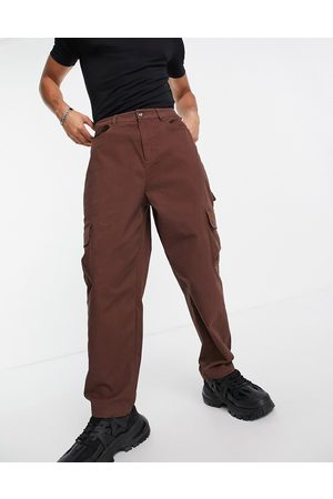 ASOS Cargo wide leg trousers in brown