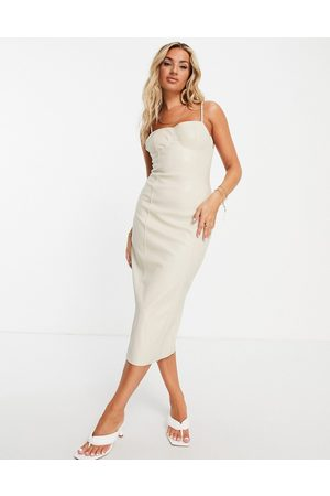 Missguided Bodycon dress in cream faux leather-Brown