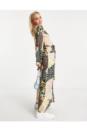 New Look Midaxi shirt dress in patchwork floral pattern-Multi