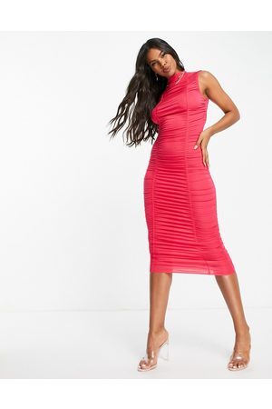 ASOS High neck double ruched midaxi dress in raspberry-Pink
