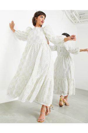 ASOS Oversized midaxi dress in fluffy metallic textured mesh-White