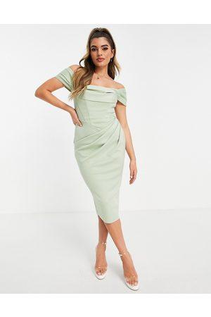 ASOS Drape bardot corset pencil midi dress in sage-Green