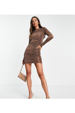 Missguided Slinky long sleeve mini dress with ruching in brown