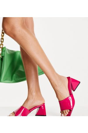 ASOS Wide Fit Halliwell block heeled mules in pink