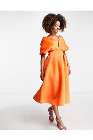 ASOS Off shoulder deep V draped sleeve midi skater dress in orange