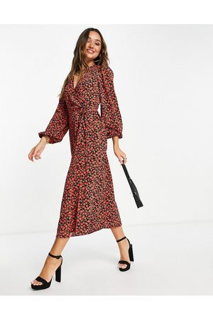 Glamorous Midi wrap dress in red rose floral