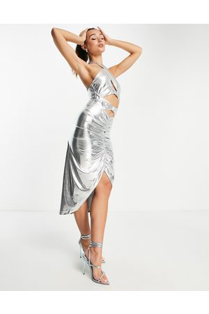 Virgos V L the Label ruched halter neck midi dress in silver