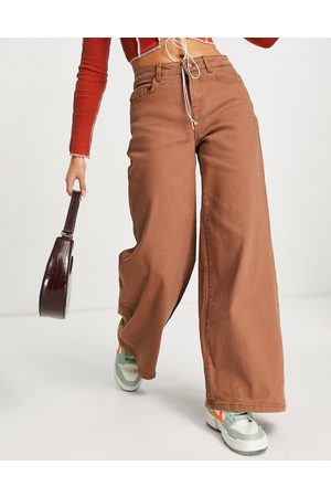 Noisy May Wide leg jeans in camel brown