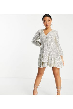 Forever New Sequin wrap front frill hem mini dress in silver