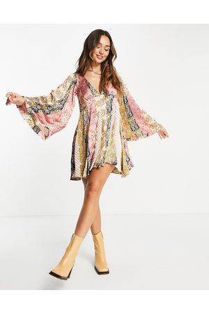 ASOS 70s mix print mini smock dress with godets and flared sleeves-Multi