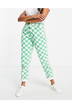 ASOS Hourglass high rise 'slouchy' mom jeans in green check