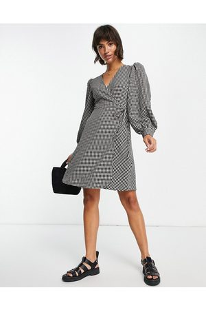 SELECTED Femme wrap mini dress with volume sleeves in mono gingham-Multi