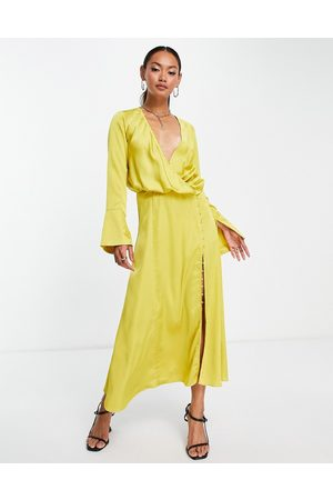 ASOS Bias cut drape midi dress with button detail in mustard-Yellow