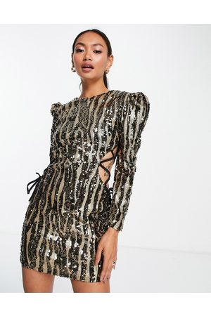 Virgos VL the Label lace sided sequin mini dress in metallic-Silver