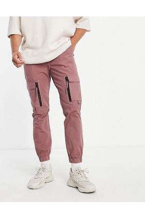 Topman Skinny cargo trousers with zip detail in pink