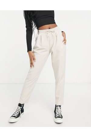 New Look Tie waist WFH jogger in stone-Brown