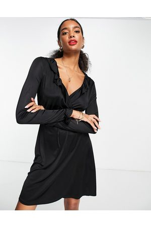 French Connection Sonike bamboo jersery wrap mini dress in black