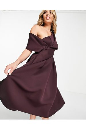 ASOS Bare shoulder prom midi dress in aubergine-Purple