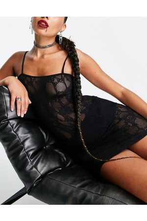 Ann Summers Illustrious sheer lace bandeau cami dress in black