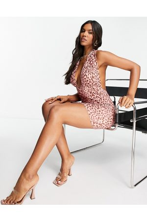 ASOS Halter cross front mini dress in pink leopard print-Multi