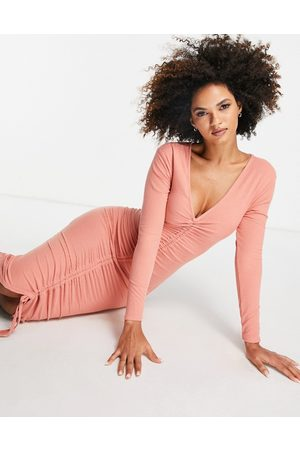 Club L Ruched front long-sleeve dress in rose-Pink