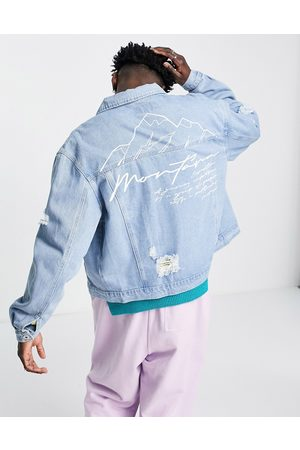 Liquor N Poker Co-ord oversized stonewash trucker jacket with distressing and mountain back print-Blue