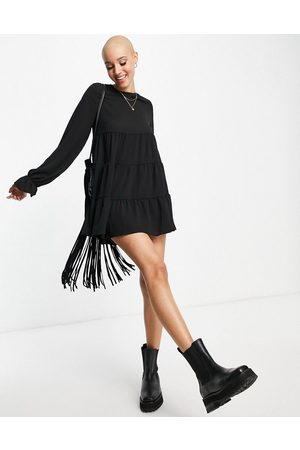 ASOS Bubble crepe tiered smock playsuit in black