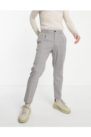 Topman Taper pupstooth check trousers-Neutral