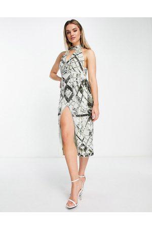 ASOS Halter plunge midi embellished dress with split front-Multi
