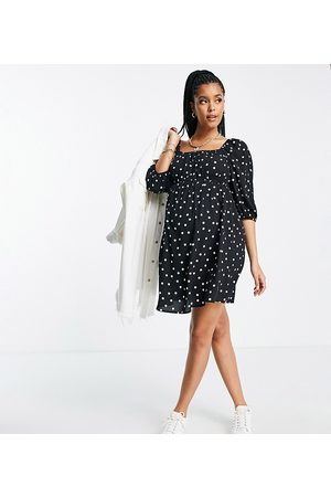 ASOS ASOS DESIGN Maternity ruched bust mini skater dress with puff sleeve in mono spot print-Multi