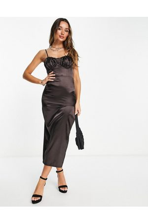 Flounce London Satin midi dress with ruched cup details in midnight brown