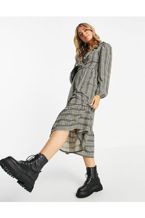 ASOS Midi smock dress with frill neck and tiered hem in grey and green check print