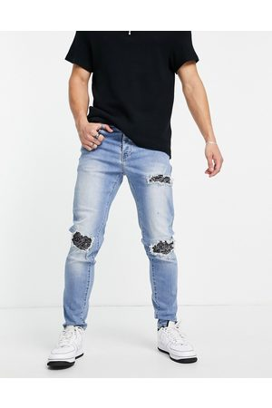 Sixth June Distressed relaxed jeans with bandana detailing in blue