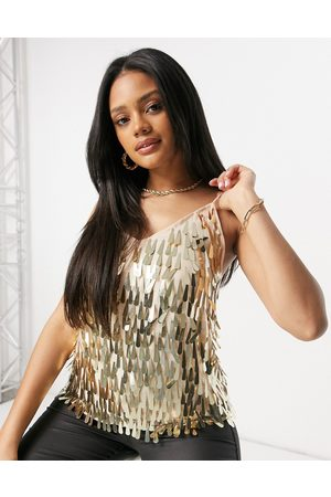 ASOS Cami with teardrop embellishment in gold