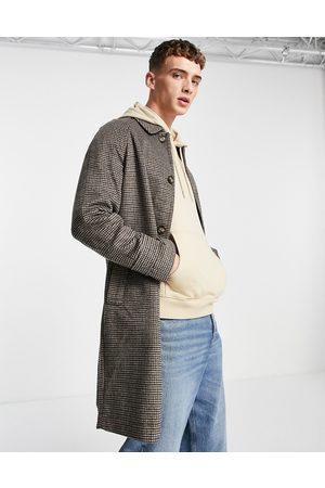 ASOS Herre Jakker - Wool mix overcoat in brown check-Grey