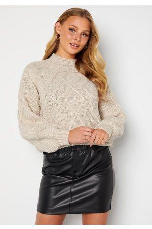 Object Dame Strikkegensere - Kamma cable knit pullover Silver gray melange XS