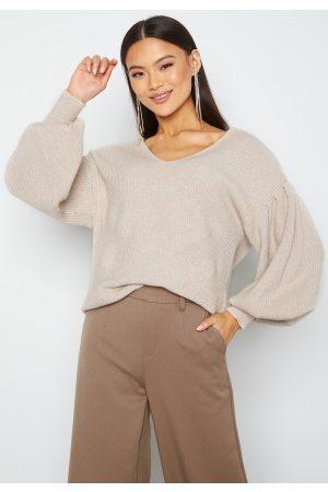 Object Dame Strikkegensere - Wythe L/S Knit Pullover Silver gray melange S