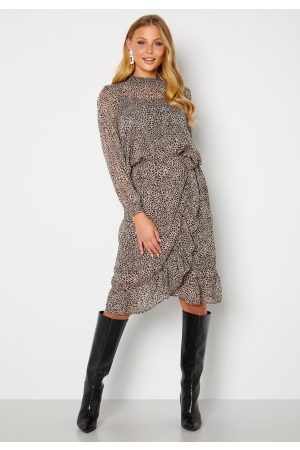 ONLY Star Fake Wrap Skirt Taupe Gray AOP Leo S