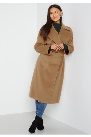 GANT Dame Ullkåper - Wool Blend Belted Coat 213 Warm Khaki L