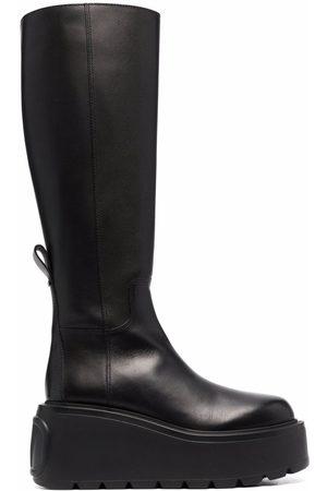 VALENTINO GARAVANI Dame Skoletter - VLogo knee-high leather platform boots